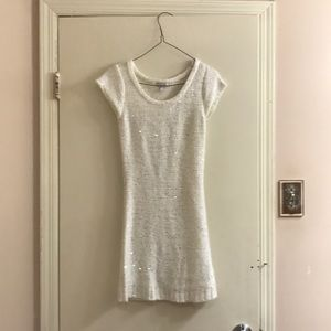 White sequined knit dress